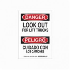 Brady® 125268 Rectangle Danger Sign, 14 in H x 10 in W, Black/Red on White, Surface Mount, B-555 Aluminum