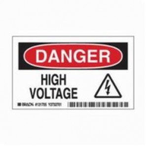 Brady® 131706 Laminated Rectangle Electrical Hazard Sign, 3 in H x 3 in W, Black/Red on White, Self-Adhesive Mount, B-302 Polyester