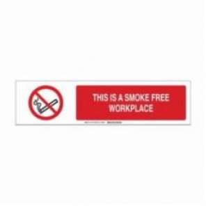 Brady® 140772 Safety Sign Slider Insert, THIS IS A SMOKE FREE WORKPLACE, 6 in H x 23-7/8 in W, Black/Red on White