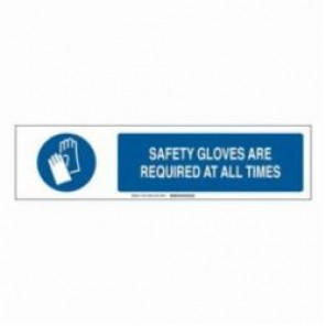Brady® 140778 Safety Sign Slider Insert, SAFETY GLOVES ARE REQUIRED AT ALL TIMES, 6 in H x 23-7/8 in W, Blue on White