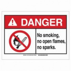 Brady® 143785 No Smoking Sign, 3-1/2 in H x 5 in W, Red/Black on White, Self-Sticking Mount, B-302 Polyester