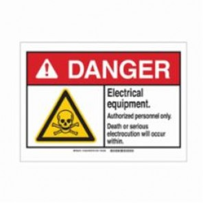 Brady® 144621 Danger Sign, 3-1/2 in H x 5 in W, Black/Red/Yellow on White, Corner Hole Mount, B-302 Polyester