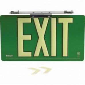 Brady® 145529 BradyGlo™ Exit Sign, 9 in H x 15-3/4 in W, Green, Surface Mount, Composite Aluminum