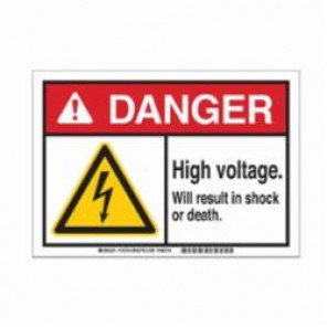 Brady® 145734 ToughWash™ Facility ID Pre-Printed Danger Sign, 10 in W x 7 in H, Black/Red/Yellow on White, B-869 Encapsulated Plastic, DANGER HIGH VOLTAGE WILL RESULT IN SERIOUS SHOCK OR DEATH