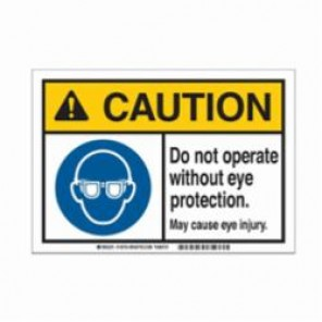 Brady® 145755 Metal Detectable Sign, 10 in H x 14 in W, Black/Blue/Yellow on White, Corner Hole Mount, B-869 Encapsulated Plastic