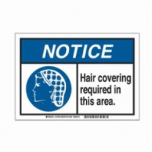 Brady® 145763 Metal Detectable Sign, 10 in H x 14 in W, Black/Blue on White, Corner Hole Mount, B-869 Encapsulated Plastic