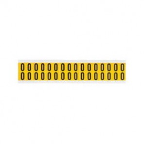 "Brady® 1520-0 Standard Number Label, 5/8 in 0"" Character, 3/4 in H x 9/16 in W, Black on Yellow"""