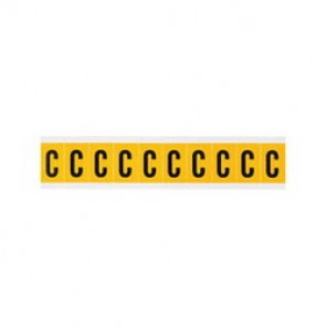 "Brady® 1520-C Standard Letter Label, 5/8 in C"" Character, 3/4 in H x 9/16 in W, Black on Yellow"""