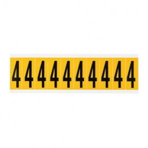 "Brady® 1520-4 Standard Number Label, 5/8 in 4"" Character, 3/4 in H x 9/16 in W, Black on Yellow"""