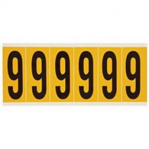 "Brady® 1520-9 Standard Number Label, 5/8 in 9"" Character, 3/4 in H x 9/16 in W, Black on Yellow"""