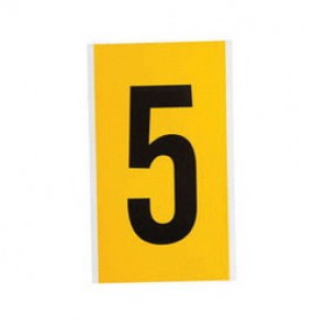 "Brady® 1520-5 Standard Number Label, 5/8 in 5"" Character, 3/4 in H x 9/16 in W, Black on Yellow"""