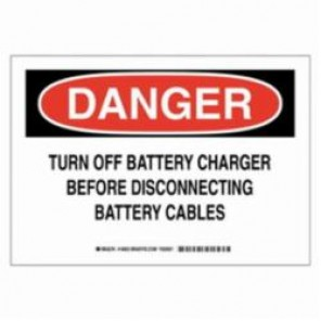 Brady® 16954 Electrical Hazard Sign, 14 in W x 10 in H, Black/Red on White, B-555 Aluminum, DANGER TURN OFF BATTERY CHARGER BEFORE DISCONNECTING BATTERY CABLES