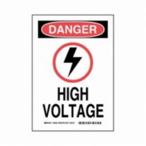 Brady® 19527 Electrical Hazard Sign, 10 in W x 14 in H, Black/Red on White, B-302 Polyester, DANGER HIGH VOLTAGE (W/PICTO)