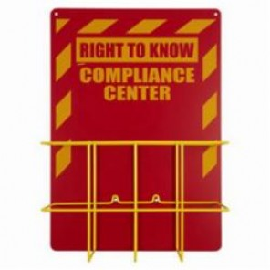 Brady® Prinzing® 2010NB Economical Right To Know Center Without MSDS Binder, RIGHT TO KNOW COMPLIANCE CENTER, English, Yellow on Red, 20 in H x 14 in W
