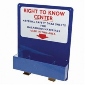 "Brady® Prinzing® 2012 Right-To-Know Board, ""RIGHT TO KNOW"" CENTER... ETC, English, Red/White on Blue, 30 in H x 24 in W"