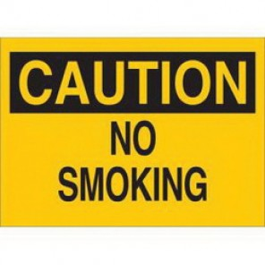 Brady® 25060 No Smoking Sign, 7 in H x 10 in W, Black on Yellow, Surface Mount, B-401 Plastic