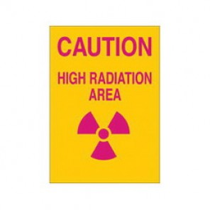 Brady® 25273 Radiation and Laser Sign, 14 in H x 10 in W, Pink on Yellow, Surface Mount, B-401 Plastic