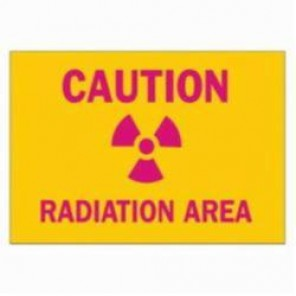Brady® 88740 Rectangle Radiation & Laser Sign, 3-1/2 in H x 10 in W, Pink on Yellow, Surface Mount, B-302 Polyester