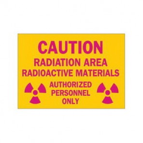 Brady® 25283 Radiation and Laser Sign, 10 in H x 14 in W, Pink on Yellow, Surface Mount, B-401 Plastic
