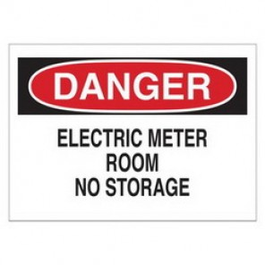 Brady® 25526 Electrical Hazard Sign, 10 in W x 7 in H, DANGER ELECTRIC METER ROOM NO STORAGE, Black/Red on White