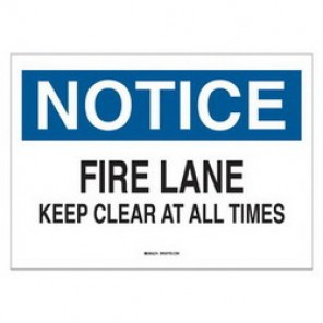 Brady® 25680 Fire Sign, 7 in H x 10 in W, Black/Blue on White, Surface Mount, B-401 Plastic