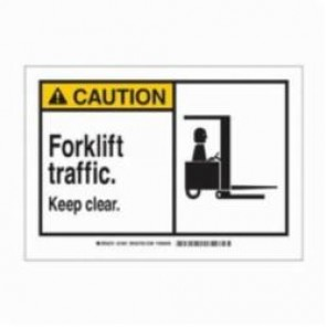 Brady® 83929 Laminated Rectangle Safety Sign, 3-1/2 in H x 5 in W, Yellow/Black on White, Self-Adhesive Mount, B-302 Polyester