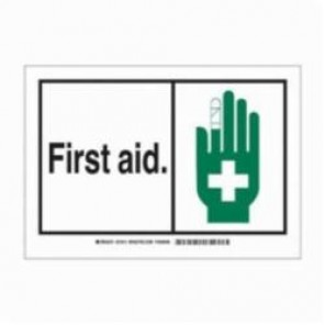 Brady® 83942 Laminated Rectangle Safety Sign, 3-1/2 in H x 5 in W, Black/Green on White, Self-Adhesive Mount, B-302 Polyester