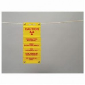 Brady® 34810 Radiation Sign, 4-5/8 in H x 8 in W, Magenta on Yellow, Surface Mount, B-915 Plastic