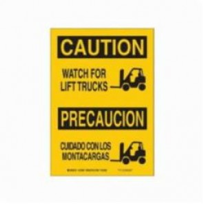 Brady® 38942 Rectangle Caution Sign, 14 in H x 10 in W, Black on Yellow, Surface Mount, B-401 Plastic