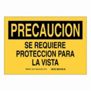 Brady® 38712 Personal Protection Equipment Sign, 7 in H x 10 in W, Black on Yellow, B-401 High Impact Polystyrene