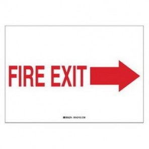 Brady® 41026 Exit & Directional Sign, 7 in H x 10 in W, Red on White, Surface Mount, B-555 Aluminum
