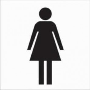 Brady® 88530 Rectangle Restroom Sign, 7 in H x 7 in W, Black on White, Surface Mount, B-302 Polyester