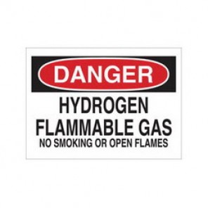 Brady® 43030 Chemical & Hazardous Material Sign, 10 in H x 14 in W, Black/Red on White, Surface Mount, B-555 Aluminum