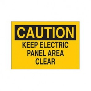 Brady® 43089 Electrical Hazard Sign, 10 in W x 7 in H, CAUTION KEEP ELECTRIC PANEL AREA CLEAR, Black on Yellow