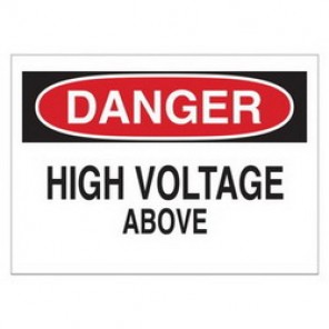 Brady® 43114 Electrical Hazard Sign, 14 in W x 10 in H, DANGER HIGH VOLTAGE ABOVE, Black/Red on White, B-555 Aluminum