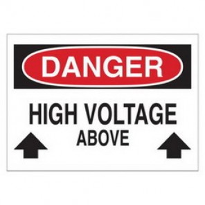 Brady® 43116 Electrical Hazard Sign, 14 in W x 10 in H, DANGER HIGH VOLTAGE ABOVE (W/PICTO), Black/Red on White