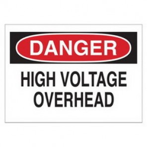 Brady® 43124 Electrical Hazard Sign, 14 in W x 10 in H, DANGER HIGH VOLTAGE OVERHEAD, Black/Red on White