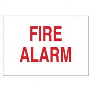 Brady® 43286 Fire Sign, 7 in H x 10 in W, Red on White, Surface Mount, B-555 Aluminum