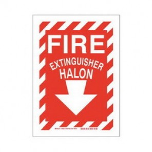 Brady® 43299 Fire Sign, 7 in H x 10 in W, White on Red, Surface Mount, B-555 Aluminum