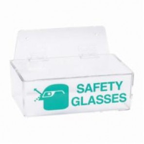 Brady® 2011L Safety Glasses Holder With Lid, 6 Pairs, 3 in H x 9 in W, Wall Mount, Green on Clear