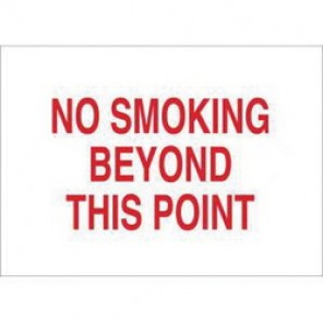 Brady® 43461 No Smoking Sign, 10 in H x 14 in W, Red on White, Surface Mount, B-555 Aluminum