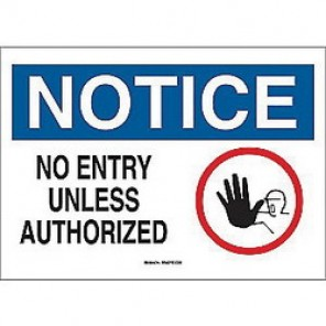 Brady® 43479 Admittance Sign, 10 in H x 14 in W, Black/Blue on White, Surface Mount, B-555 Aluminum