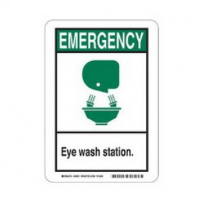 Brady® 45021 First Aid Sign, 10 in H x 7 in W, Green/Black on White, Surface Mount, B-120 Premium Fiberglass