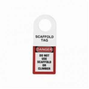 Brady® 48111 Scaffolding Tag Holder, DANGER DO NOT USE SCAFFOLD OR CLIMBER Legend, 3/8 in Hole, Plastic, Black/Red on White