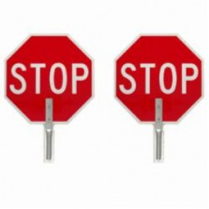 Brady® 57755 Traffic Control Paddle, STOP/STOP, Aluminum, Side 1: White on Red/Side 2: White on Red