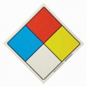 Brady® 58656 Square NFPA Placard, 11 in H x 11 in W, Black/Red/Blue/Yellow on White