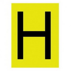 "Brady® 1520-H Standard Letter Label, 5/8 in H"" Character, 3/4 in H x 9/16 in W, Black on Yellow"""