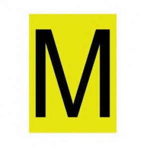 Brady® 1500-M 15 Series Standard Letter Label, 1/4 in M Character, 3/8 in H x 1/4 in W, Black on Yellow