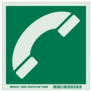 Brady® 59293 IMO Evacuation Sign, 6 in H x 6 in W, Light Green on Green, Self-Adhesive Mount, B-324 Glow-In-The-Dark Polyester