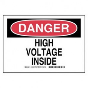Brady® 59387 Electrical Hazard Sign, 10 in W x 7 in H, DANGER HIGH VOLTAGE INSIDE, Black/Red on White, B-555 Aluminum